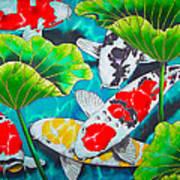 Koi And Lotus Art Print by Daniel Jean-Baptiste
