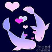 Koi In Love Art Print