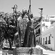 La Rogativa Sculpture Old San Juan Puerto Rico Black And White Art Print by Shawn O'Brien