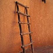 Ladder Against Adobe Wall Art Print