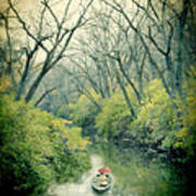 Lady In A Row Boat On A River Art Print