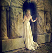 Lady In White Gown In Doorway Art Print