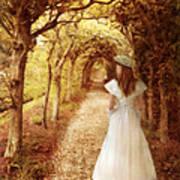 Lady Walking In Tree Tunnel In Garden Art Print