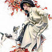 Lady With Dog Art Print