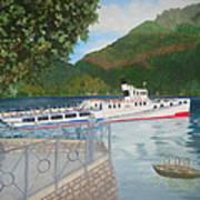 Lago Di Como Ferry Art Print by Linda Scott