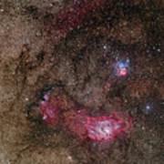 Lagoon Nebula And Trifid Nebula Art Print