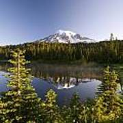 Lake And Mount Rainier, Mount Rainier Art Print