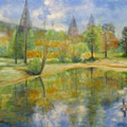 Lake In Springtime. Art Print by Max Mckenzie