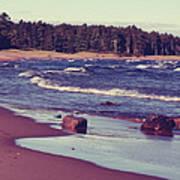 Lake Superior Beach Waves  Art Print