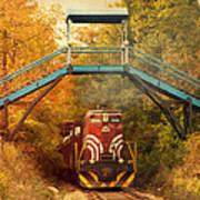 Lake Winnipesaukee New Hampshire Railroad Train In Autumn Foliage Art Print