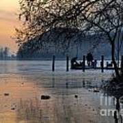 Lake With Ice In Sunset Art Print