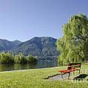 Lakefront With Mountain Art Print
