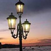 Lampost Sunset In Venice Print by Catie Canetti