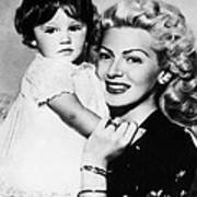 Lana Turner Right, And Daughter Cheryl Art Print by Everett