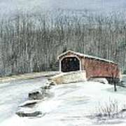 Lancaster County Covered Bridge In The Snow  Art Print