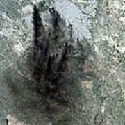 Landsat Image Of Baghdad Showing Dark Art Print