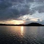 Landscape Lake At Sunset Art Print