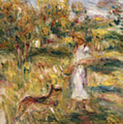 Landscape With A Woman In Blue Art Print