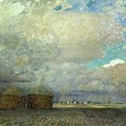Landscape With Huts Art Print by Leopold Karl Walter von Kalckreuth