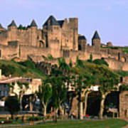 Languedoc Roussillon Carcassonne La Cite, 12th Century Castle, Carcassonne, Languedoc-roussillon, France, Europe Print by John Elk III