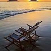 Lanikai Chairs At Sunrise Art Print