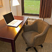 Laptop On A Hotel Room Desk Art Print by Thom Gourley/Flatbread Images, LLC