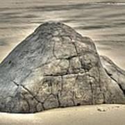 Large Rock On The Beach Art Print