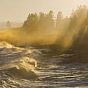 Large Waves Lightbeams Pemaquid Point Maine Art Print