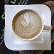 Latte With A Leaf Design Art Print