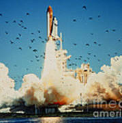 Launch Of Space Shuttle Challenger 51-l Art Print
