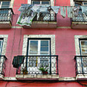 Laundry And A Pink Building  Lisbon Art Print