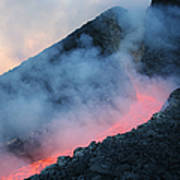 Lava Flowing From Base Of Hornito Art Print