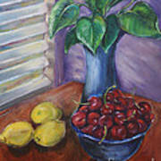 Leaves Cherries And Lemons Art Print
