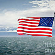 Leaving The Olympics Stars And Stripes On The Straits From The Olympic Mountains Art Print