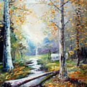 Leaving The Woodland Creek  Art Print