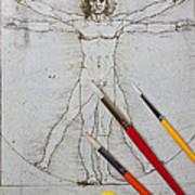 Leonardo Artwoork And Brushes Art Print by Garry Gay