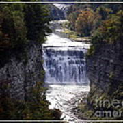 Letchworth State Park Middle Falls With Watercolor Effect Art Print