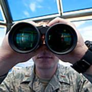 Lieutenant Uses Binoculars To Scan Art Print by Stocktrek Images
