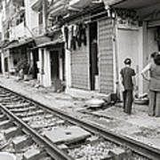 Life By The Tracks In Old Hanoi Art Print