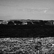 Lifebelt On Rocks At Ballintoy With Moyle Sea And Rathlin Island Art Print by Joe Fox