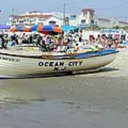 Lifeguard Boat At Ocean City Boardwalk New Jersey Art Print