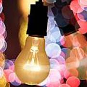 Light Bulb And Bokeh Art Print