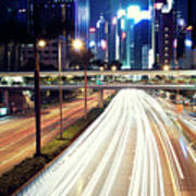 Light Trails At Traffic On Street At Night Art Print