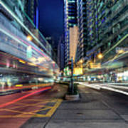 Light Trails On Street At Night Art Print