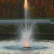 Lighted Fountain Art Print