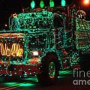 Lighted Green Dumptruck Art Print