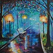 Lighted Park Path Art Print