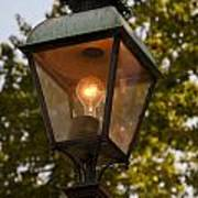 Lighted Street Lamppost Art Print