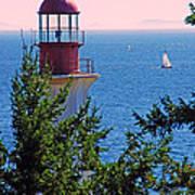Lighthouse And Sailboats Art Print