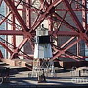 Lighthouse Atop Fort Point Next To The San Francisco Golden Gate Bridge - 5d19001 Art Print